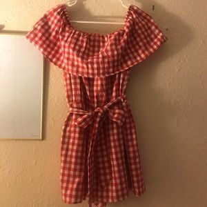 Gingham red and white off the shoulder romper